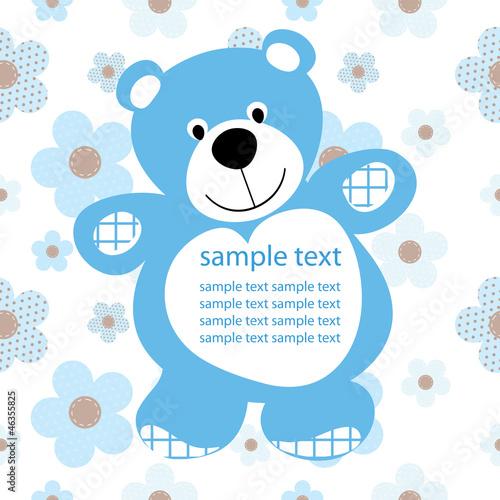 card with a teddy bear for baby