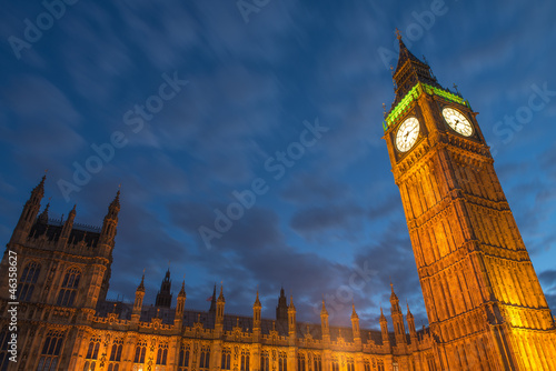 Lights of Big Ben at Dusk with blurred moving cloud - London Wallpaper Mural