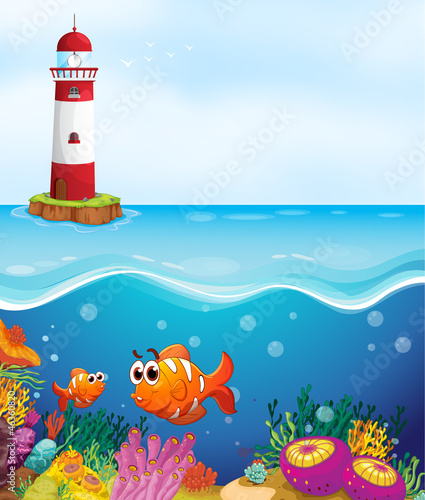 Ingelijste posters Onderzeeer a light house, fishes and coral in sea