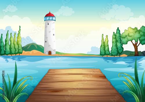 Canvas Prints River, lake a light house