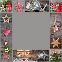Weihnachtlicher Rahmen Rustikal In Rot Und Grau