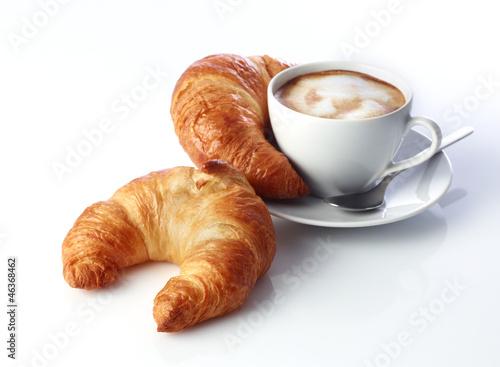 Cuadros en Lienzo Cappucino und Croissants
