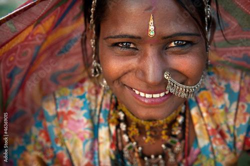 fototapeta na lodówkę Portret kobiety Indie Radźasthani