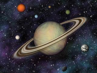 3D Sunčev sustav. Saturn i njegovih 7 najvećih mjeseci.