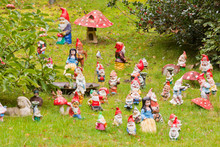 Collection Of Colorful Dwarf Figures In A Garden. Fairytale.