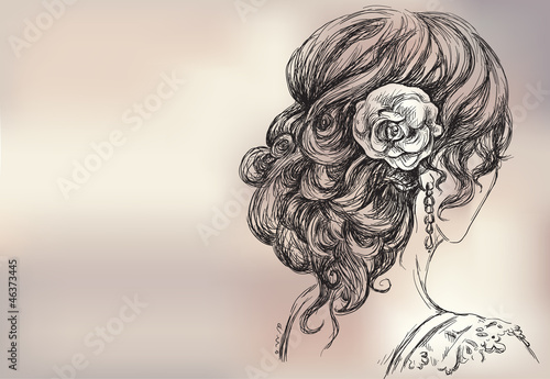 Vector drawing of a beautiful girl, bridal hairstyle Canvas Print