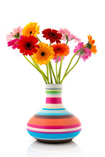 Colorful Bouquet Gerber Flowers In Vase