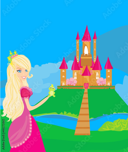 Poster Kasteel Beautiful young princess holding a big green frog