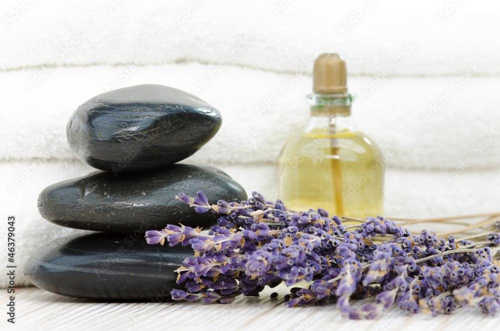 Plissee mit Motiv - Hot-Stone Steine mit Lavendel und Massageöl