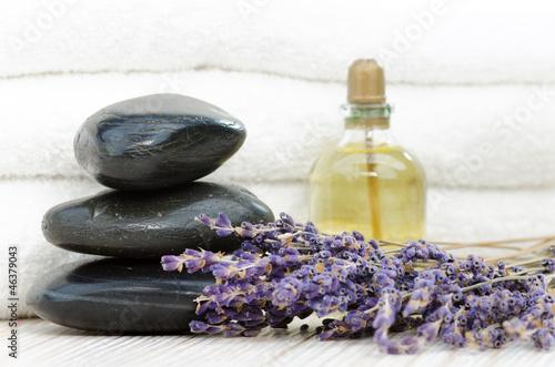 Doppelrollo mit Motiv - Hot-Stone Steine mit Lavendel und Massageöl