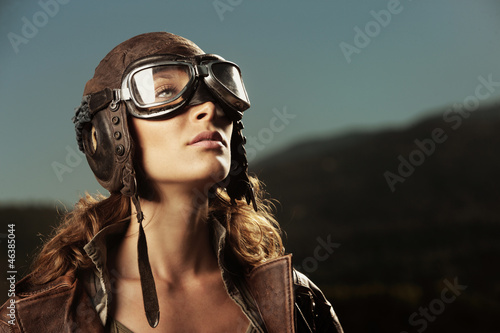Photo Woman aviator: fashion model portrait
