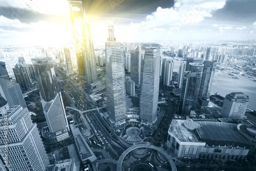 Foto Shanghai Pudong city bird's eye view