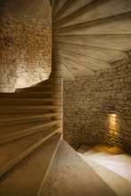 Spiral Staircase In Medieval Castle