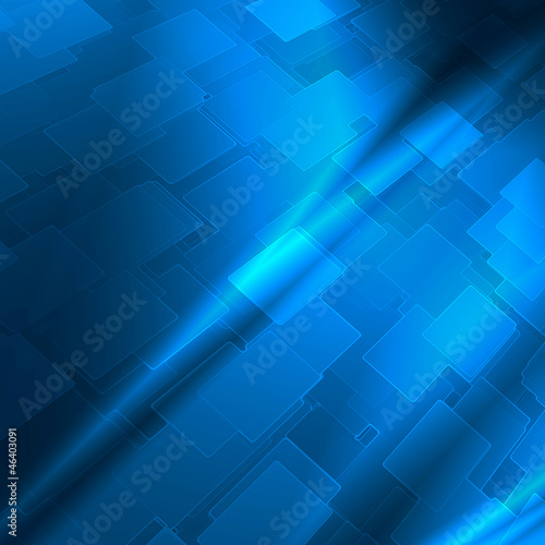 Fotografiet  blue abstract background cube pattern to high tech advertising