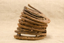 Stack Of Old Retro Horse Shoes...
