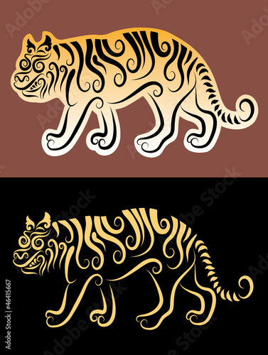 Tiger ornament sticker