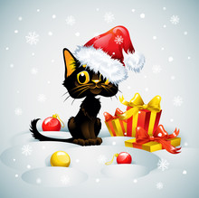 Christmas Card With Funny Cat
