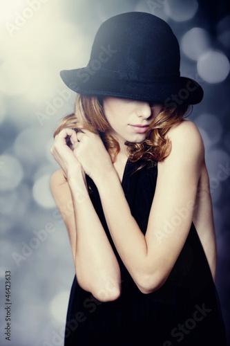 Acrylic Prints Portrait of beautiful redhead girl in hat.