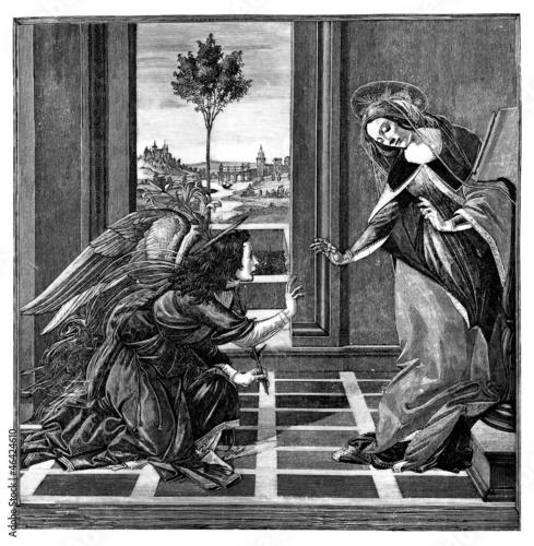 Annunciation : Virgin Mary & Archangel Gabriel Wallpaper Mural