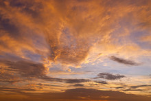 Dramatic Sunset Sky With Clouds