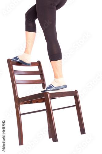 Valokuva  schlechte Alternative zur Leiter ist der Stuhl
