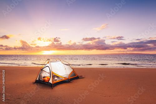Foto op Canvas Kamperen Camping on the Beach