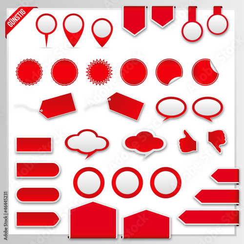 Foto  Vector red price tags, labels, stickers, arrows and ribbons