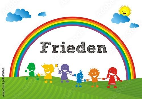 Poster Regenboog Frieden - Regenbogenkinder ~ Rainbow Children