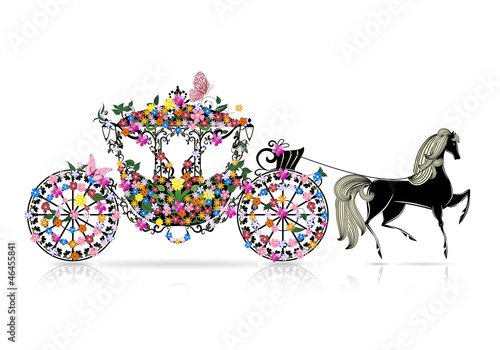 Fotobehang Bloemen vrouw vintage floral carriage