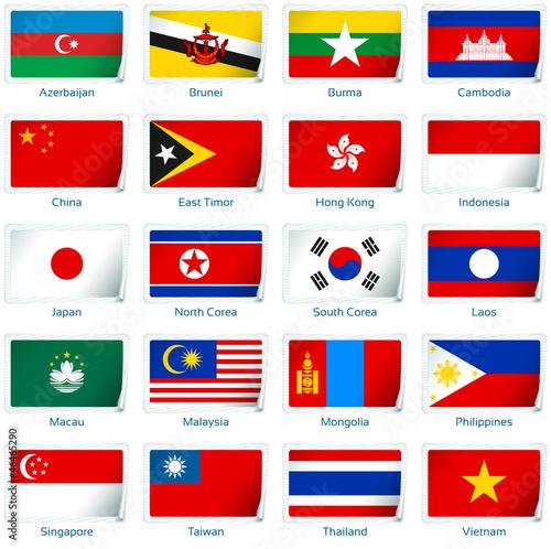 Photo  Sticker flags Eastern Asia