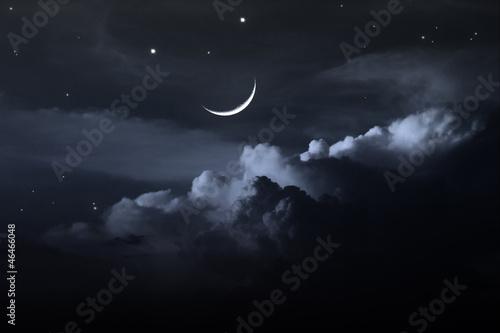Valokuva night sky with moon