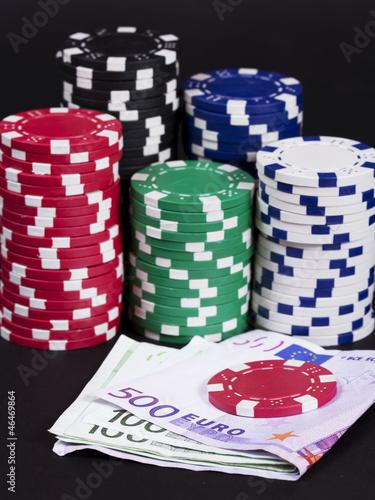 Foto  Gambling winning money concept