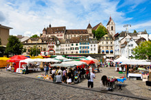 Market In The Old Town In Basel
