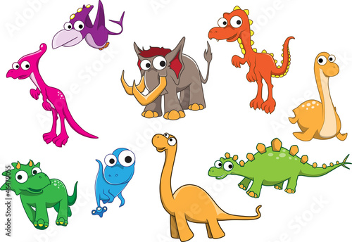 Poster de jardin Zoo Collection of dinosaurs