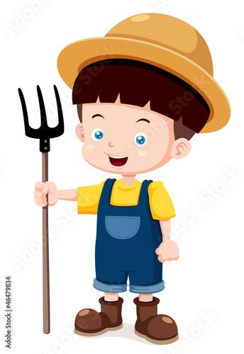 Spoed Foto op Canvas Boerderij illustration of Cartoon young farmer