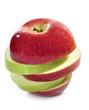 Manzana roja y verde.