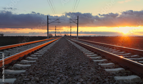 Poster Voies ferrées Railway at dusk