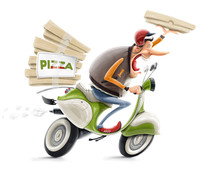 Man Delivering Pizza On Bicycl...