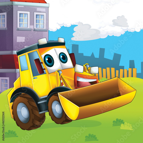 Recess Fitting Cars The happy tractor - illustration for the children