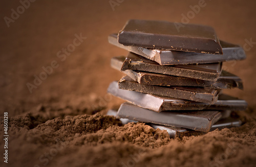 Fotografie, Obraz  Stacked chocolate bars