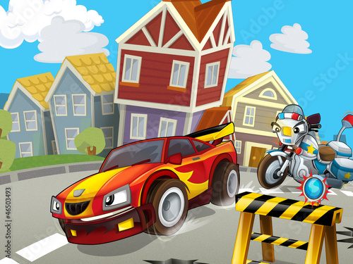 Keuken foto achterwand Cars The speeding car - illustration for children