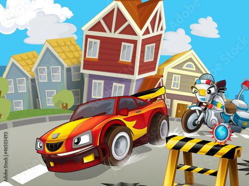 Foto op Canvas Cars The speeding car - illustration for children