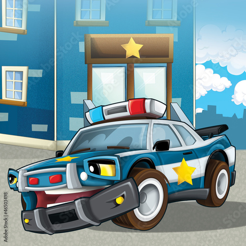 Keuken foto achterwand Cars The police car