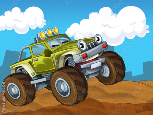 Poster Cars The off road cartoon car - illustration for the children
