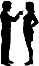 Man Woman Yell Point In Couple Argument