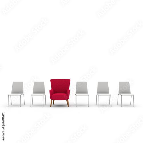 Fotografie, Obraz  Roter Sessel zwischen den Stühlen