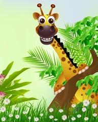 fototapeta kreskówka wesoła żyrafa, tropikalny las w tle