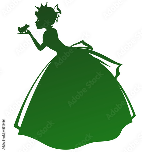 silhouette of a princess kissing a frog