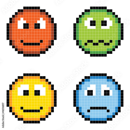 Foto op Plexiglas Pixel Pixel Emotion Icons - Angry, Sick, Happy, Sad