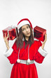 santa claus hat with red christmas gift box